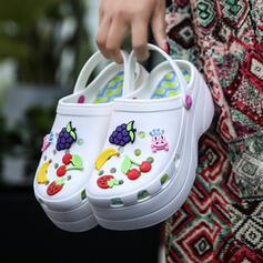 Frauen EVA Keil Absatz Sandalen Geschlossene Zehe Pantoffel mit Hohl-out Blumenmuster Schuhe