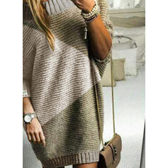 Geblockte Farben Rundhalsausschnitt Freizeit Lang Pulloverkleid