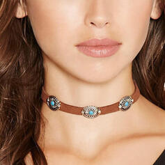 Jahrgang Boho Legierung Leder Frauen Halsketten