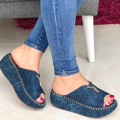 Frauen Baumwollstoff Keil Absatz Sandalen Plateauschuh Keile Peep Toe Pantoffel Heels mit Reißverschluss Einfarbig Schuhe