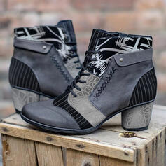 Women's PU Chunky Heel Boots Ankle Boots Low Top Heels Round Toe With Lace-up Floral Print shoes