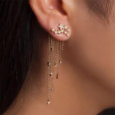 Quasten Entwurf glänzender Stern Legierung Strasssteine Frauen Ohrringe 2 STÜCK