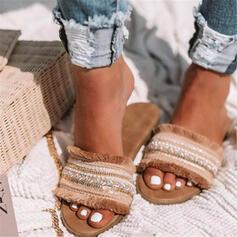 Frauen Kunstleder Flascher Absatz Sandalen Flache Schuhe Peep Toe Pantoffel mit Quaste Schuhe