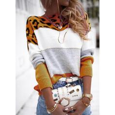Geblockte Farben Leopard Rundhalsausschnitt Freizeit Pullover