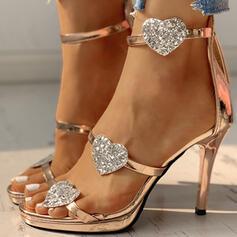 Frauen PU Stöckel Absatz Sandalen Absatzschuhe Peep Toe Heels mit Reißverschluss Schuhe
