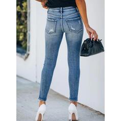 Shirred Übergröße Zerrissen Elegant Sexy Dünn Denim Jeans