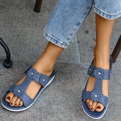 Frauen Mikrofaser Keil Absatz Sandalen Peep Toe mit Hohl-out Blume Schuhe