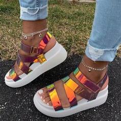 Frauen PU Keil Absatz Sandalen Plateauschuh Keile Peep Toe Heels mit Schnalle Hohl-out Schuhe