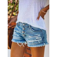 Taschen Shirred Zerrissen Lässige Kleidung Sexy Kurze Hose