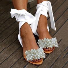 Frauen PU Flascher Absatz Sandalen Peep Toe mit Nachahmungen von Perlen Schuhe