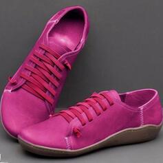 Frauen PU Flascher Absatz Flache Schuhe mit Einfarbig Schuhe