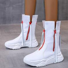 Frauen PU Stämmiger Absatz Stiefel-Wadenlang Round Toe mit Reißverschluss Zuschnüren Schuhe