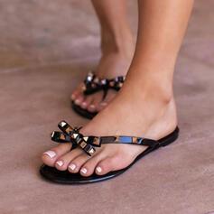 Frauen PVC Flascher Absatz Sandalen Flache Schuhe Peep Toe Flip Flops Pantoffel mit Bowknot Hohl-out Schuhe