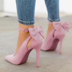 Frauen Microfaser-Leder Stöckel Absatz Absatzschuhe mit Bowknot Schuhe
