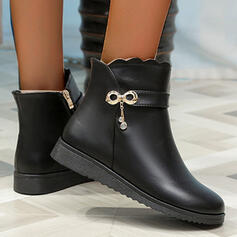 Women's PU Wedge Heel Boots Ankle Boots With Zipper Solid Color shoes