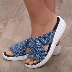 Frauen Stoff Keil Absatz Sandalen Keile Peep Toe Pantoffel Heels mit Hohl-out Gestreift Schuhe