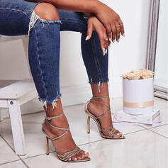 Women's PU Stiletto Heel Sandals Pumps Peep Toe Pointed Toe With Buckle Lace-up Hollow-out shoes