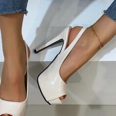 Frauen PU Stöckel Absatz Absatzschuhe Plateauschuh Peep Toe Heels mit Hohl-out Einfarbig Schuhe