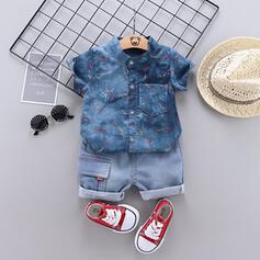 2 Stücke Baby Junge Knopf Einfarbig Baumwollstoff Baumwolle Stellen Sie Größe