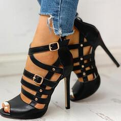 Frauen PU Stöckel Absatz Peep Toe mit Schnalle Schuhe