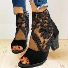 Frauen Veloursleder Mesh Stämmiger Absatz Sandalen Absatzschuhe Stiefelette Heels mit Reißverschluss Schuhe