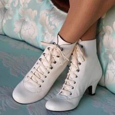 Frauen PU Spule Absatz Stiefelette mit Zuschnüren Schuhe
