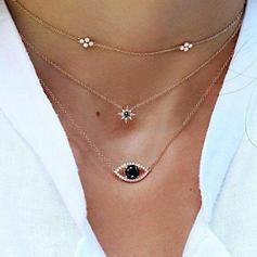 sternförmige Legierung Strasssteine Halsketten