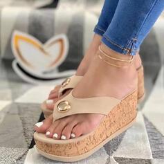 Frauen PU Keil Absatz Sandalen Plateauschuh Keile Peep Toe Flip Flops Pantoffel Heels mit Perlstickerei Hohl-out Schuhe