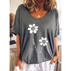 Blumen Buchstaben Rundhalsausschnitt Kurze Ärmel T-Shirts