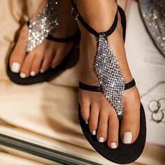 Frauen PU Flascher Absatz Sandalen Flache Schuhe Peep Toe Flip Flops mit Strass Hohl-out Schuhe