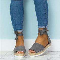 PU Flascher Absatz Sandalen Keile Peep Toe mit Zuschnüren Schuhe