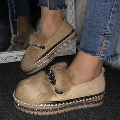 Frauen Veloursleder Flascher Absatz Flache Schuhe Round Toe Schlüpfen mit Kunstpelz Schuhe
