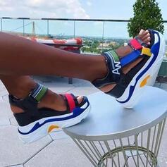 Frauen Microfaser-Leder Keil Absatz Sandalen Plateauschuh Keile Peep Toe Heels mit Hohl-out Spleißfarbe Schuhe
