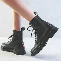Frauen Mikrofaser Flascher Absatz Martin Stiefel Round Toe mit Zuschnüren Schuhe