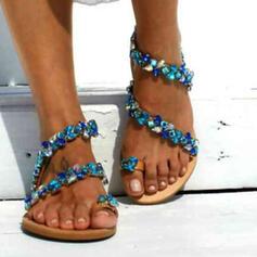 Frauen PU Flascher Absatz Sandalen Flache Schuhe Peep Toe Zehenring mit Applikationen Hohl-out Schuhe
