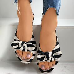 Frauen PU Flascher Absatz Sandalen Flache Schuhe Peep Toe Pantoffel mit Bowknot Hohl-out Gestreift Schuhe