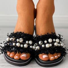 Frauen PVC Flascher Absatz Sandalen Flache Schuhe Peep Toe Pantoffel mit Nachahmungen von Perlen Hohl-out Quaste Schuhe