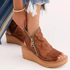 Frauen PU Keil Absatz Sandalen Keile Peep Toe Heels mit Reißverschluss Einfarbig Schuhe