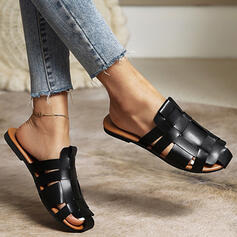 Women's PU Flat Heel Flats Round Toe Mules With Hollow-out Solid Color shoes
