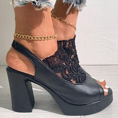 Women's PU Chunky Heel Pumps Peep Toe Heels With Stitching Lace Solid Color shoes