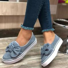Frauen Veloursleder Flascher Absatz Flache Schuhe mit Bowknot Schuhe