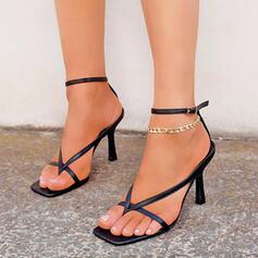 Frauen PU Stöckel Absatz Sandalen Absatzschuhe Peep Toe Flip Flops mit Schnalle Hohl-out Einfarbig Schuhe