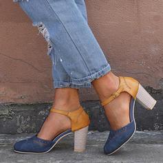 Frauen Leinwand Stämmiger Absatz Sandalen mit Schnalle Schuhe