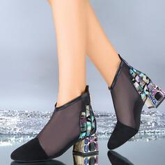 Frauen Mesh Stämmiger Absatz Absatzschuhe Geschlossene Zehe mit Hohl-out Schuhe