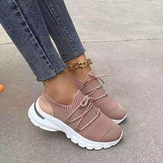 Frauen Stoff Mesh Flascher Absatz Flache Schuhe Round Toe Tanzschuhe Slipper & Slips mit Zuschnüren Einfarbig Schuhe