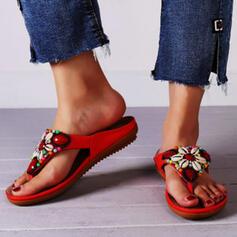 Frauen Mikrofaser Flascher Absatz Sandalen Flache Schuhe Peep Toe Flip Flops Pantoffel mit Perlstickerei Blume Einfarbig Schuhe