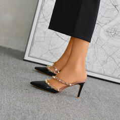 Frauen Kunstleder Stöckel Absatz Absatzschuhe Geschlossene Zehe mit Niete Schuhe