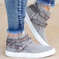 Women's Denim Flat Heel Boots Ankle Boots Low Top Round Toe With Buckle Zipper Button shoes
