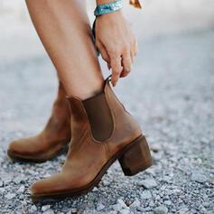 Frauen PU Stämmiger Absatz Stiefelette Round Toe mit Spleißfarbe Schuhe