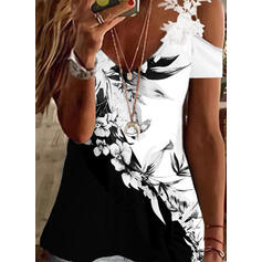 Print Color Block Floral Lace Cold Shoulder Short Sleeves Cold Shoulder Sleeve Elegant Blouses